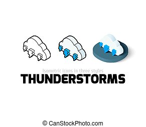 Thunderstorms icon in different style - Thunderstorms icon,...