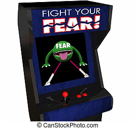 Fight Your Fear Beat Afraid Bravery Courage Arcade Game 3d Illustration