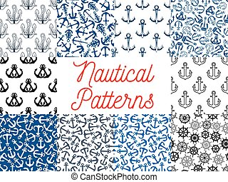 Nautical anchor and steering wheel patterns