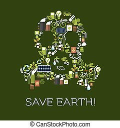 Save Earth. Eco environment banner - Save Earth. Environment...
