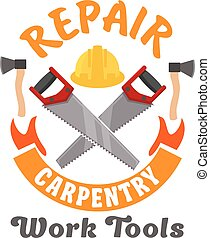 Repair and carpentry work tools icon