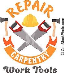 Repair and carpentry work tools icon - Repair and carpentry...