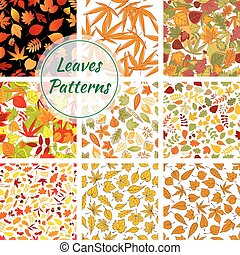 Autumn plants and trees leaves. Seamless patterns of bright...