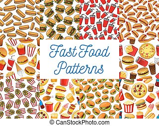 Fast food seamless pattern backgrounds Wallpaper with vector...