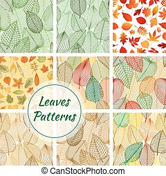 Leaves seamless patterns. Set of vector pattern with leaf...