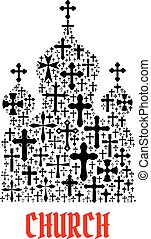 Church icon. Religion christianity cross symbols