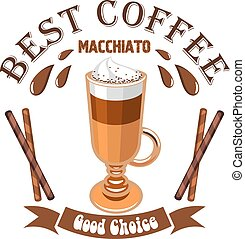 Macchiato coffee. Cafe emblem. Glass cup with layered coffee...