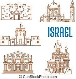 Israel architecture landmarks, sightseeing - Israel vector...