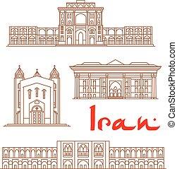 Iran architecture landmarks, sightseeing - Iran vector thin...