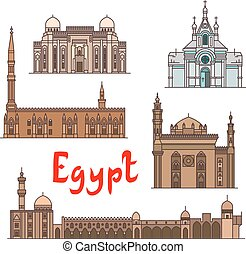 Egypt historic landmarks and sightseeings, famous...