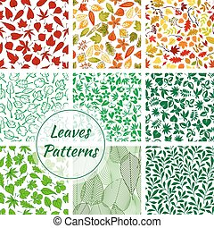 Color leaves seamless patterns set - Trees foliage patterns....