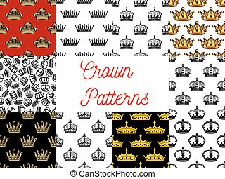 Royal crowns seamless patterns
