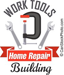 Home building and repair work tools icon emblem. Vector icon...