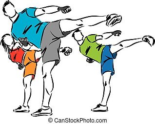 kick boxing fitness group illustration
