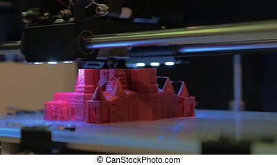 3D printer making model of St Basil Cathedral - Close-up...