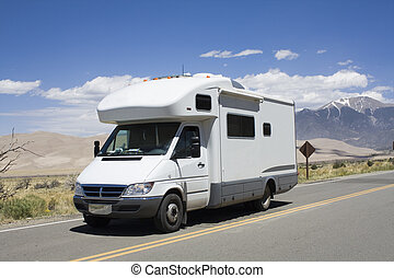 RV driving to Great Sand Dunes National Park in Colorado