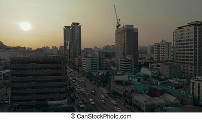 City panorama of Seoul in South Korea in the evening