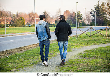 Two handsome young men, friends, in a park - Two handsome...