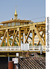 Tower Bridge - Closeup on the central lift span of...