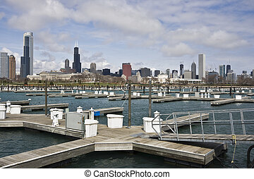 Chicago seen from empty marina - Chicago, IL seen from empty...