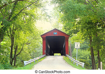 Dick Huffman covered bridge in fog