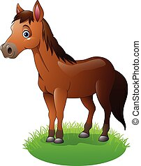 Cartoon brown horse - Vector illustration of Cartoon brown...