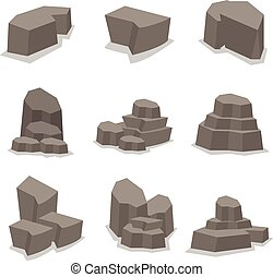 Object stone and rock set vector