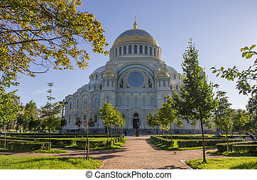 Naval Cathedral of St. Nicholasin Kronstadt at Sunny day...
