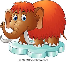 Cartoon mammoth standing on floe - Vector illustration of...