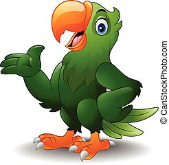 Cartoon green parrot presenting - Vector illustration of...
