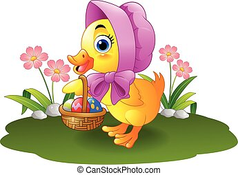 Cartoon baby duck carrying decorate - Vector illustration of...
