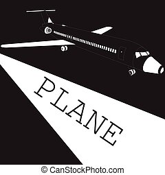 Taking off white airplane on blackboard vector style.