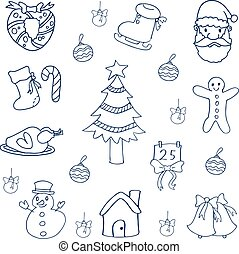 Christmas set flat of doodles vector art illustration