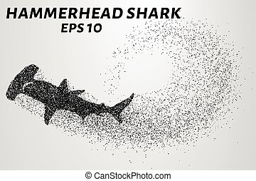 The hammerhead shark from the particles. Fish hammer consists of small circles. Vector illustration