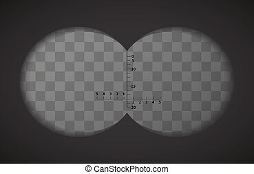 View from the binoculars on transparent background - View...