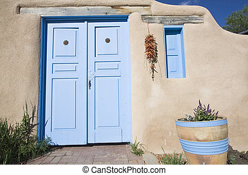 New Mexican styled front door and window - Taos, NM.