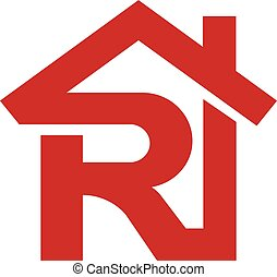 Letter R realtor real estate logo, letter R with roofing...