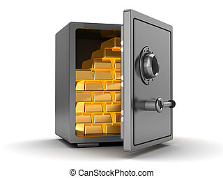 safe with gold - 3d illustration of steel safe full of gold