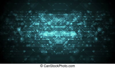 Dark cyan neon cyberspace tech video animation - Dark cyan...
