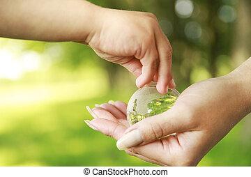 ガラス, 地球, 手