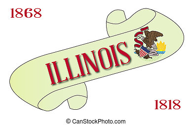 Illinois Scroll - A scroll with the text Illinois with the...