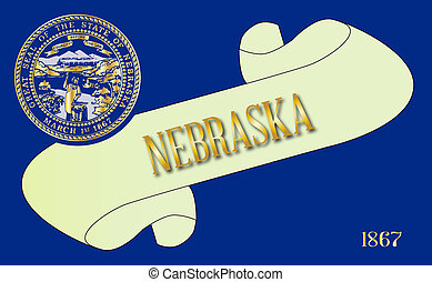 Nebraska Scroll - A scroll with the text Nebraska with the...