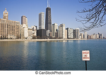 No Swimming in Chicago - No Swimming Sign in Chicago