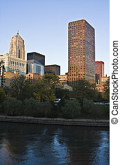 Buildings along Chicago River before cunset