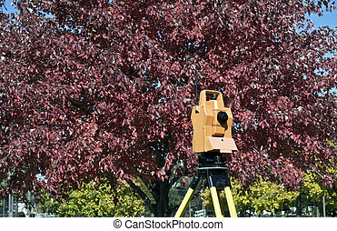 Surveying during colorful fall