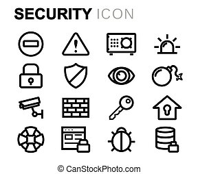 Vector black line security icons set