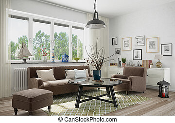 3d render of scandinavian flat - livingroom with couch
