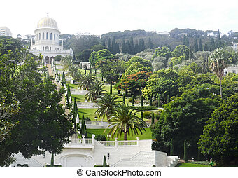 Bahai Gardens, Haifa City, Israel - View of the Bahai...