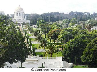 Bahai Gardens, Haifa City, Israel - View of the Bahai...