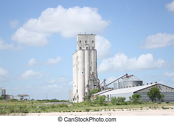 Grain Elevator - grain elevator and blue country sky